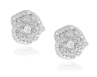 Sterling Silver Pave Rose Stud Earrings