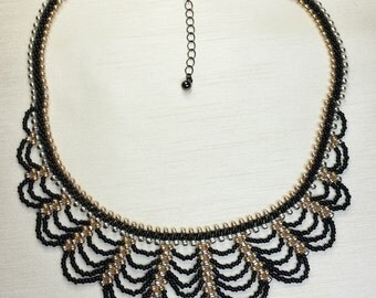 Gold Silver Black Necklace