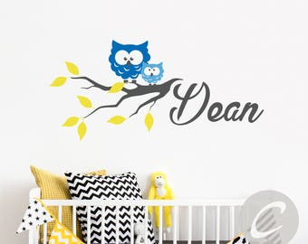 Nursery wall name decal Owls wall decor Vinyl wall sticker with name personalized Custom name wall decal Kids room wall decor -AI013