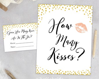 How Many Kisses Gold Confetti Bridal Shower Gold Bridal Shower - Shower Table Sign Gold Glitter Favors Sign 032