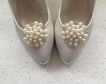 Shoe Clips Diamante Crystal Pearl Bridal Winter Wedding Goodwood