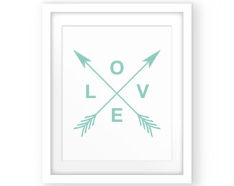 Love Wall Art Print, Love Printable, Love Wall Decor, Love Typography, Love Wall Art, Typography Wall Art, Mint Print, Digital Print