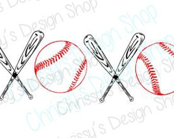 XOXO baseball svg / baseball love svg / sports love svg / baseball bat svg / ball sports svg / kisses and hugs / baseball clip art