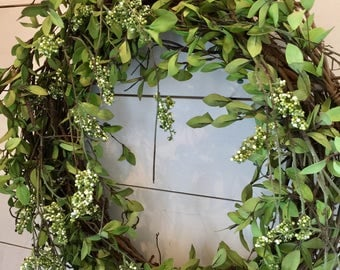 Extra large wreath, greenery wreath, berry wreath, front door wreath, farmhouse wreath, grapevine wreath, cottage wreath, french country