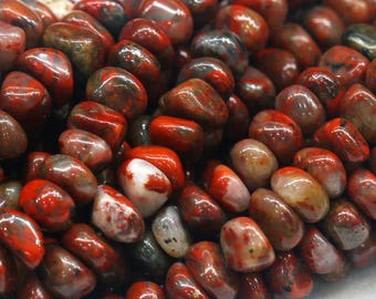 """Natural Genuine Red BRECIATED Jasper Nugget Free Form Loose Beads 6x9mm 15"""" 03877"""