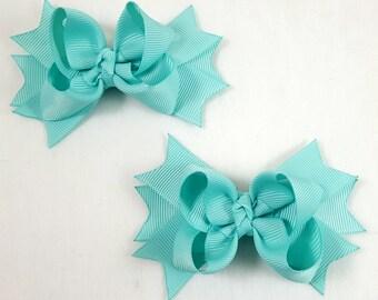 Aqua Mini Hair Bows-Set of 2/Hair Accessories/Little Girl Hair Bow/Toddler Hair Bow/Pig Tail Bows /Accessory/Aqua Hair Bow/Stack Hair Bow