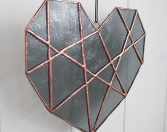 Stained Glass Geometric Heart   Smokey Grey Textured Glass   Indoor - Outdoor