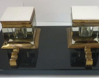 Inkwell Classic Art Deco crystal inkwell on Black Glass & White Marble finish Brass