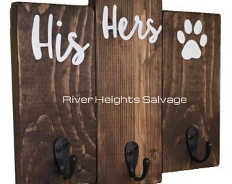 His Hers Dog's Key Hooks and Dog Leash Hook Key Hook & Leash Holder Sign Key holder Sign Dog Leash Sign