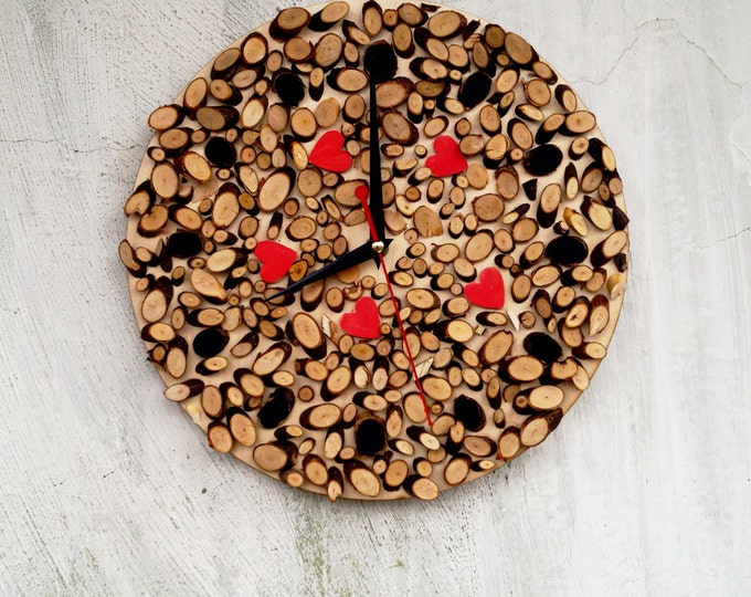 Natural wooden wall clock - Eco Wall Clock- love wall decor - Rustic Modern Wall Clock - large Rustic Home Decor - Christmas gift