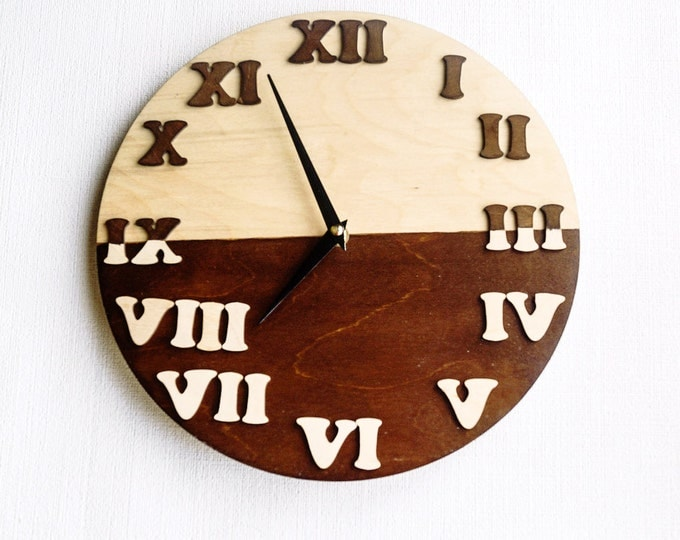Wall Clock, Trending Minimalist Art, Natural Wood and brown , Housewares, Home and Living, Unique Wall Clock