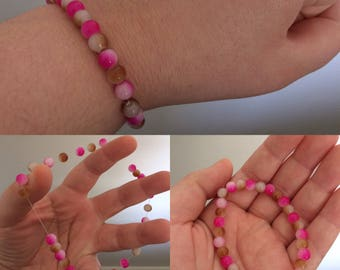 Pink, Brown, and White Beaded Bracelet