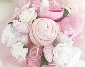 Baby Girl Gift Set Baby Shower Gift Pink Diaper Cake New Baby Gift Hamper Pink Baby Gift Baby Clothes Bouquet Unique Baby Gift Newborn