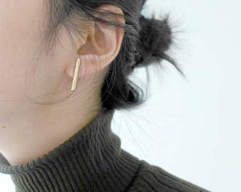 Clip for pierced ears (invisible clip on the errings), minimalist ear jewellery.