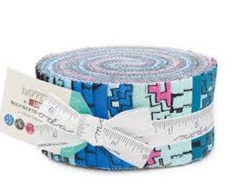 Dapper Jellyroll by Luke for Moda- Walk a Mile in Your Own Shoes modern bright fun fabric - blue, aqua, pink, gray, purple, white sunglasses