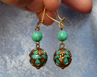 Vintage Chinese Earrings Bolls in Traditional Style Brass with Stamp of the Factory Blue Green Plastic Stones Very Cute Old Patina Earrings