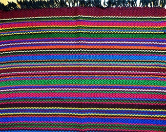 Beautiful CYBER SALE Vintage Hand Woven Rug Runner Beautiful Multicolor Fringe Rug  Slim Kilim Or Table Runner