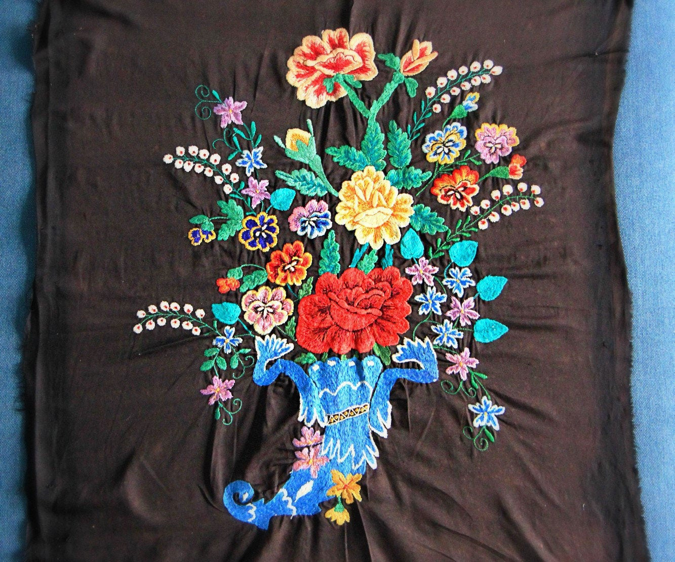 Vintage ukrainian embroidery xl large embroidered picture vase