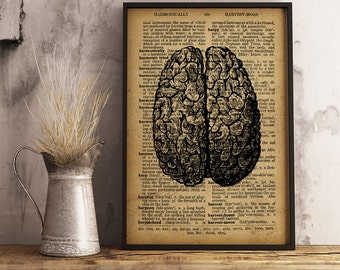 Human Brain Print, Medical Poster, Brain Dictionary Print, Anatomy Art, Graduation Gifts for Doctors Science Art Science Poster (HA11)