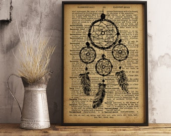 Native American decor, Vintage Style Art poster Tribal print, Dreamcatcher Decor,  Dream catcher, Dreamcatcher gift (D07)