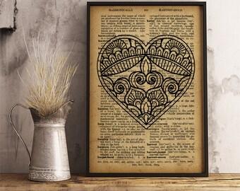 Heart Mandala Print spiritual art Poster, Abstract Heart boho style mandala wall decor, heart wall art, yoga decor Heart Mandala (MA39)