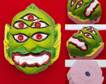 Thai amulet Phraya Seehuhata 4 ears 5 eyes Mahalarp by Kruna Mueanrit. Powerful giving luck 3 takruts and holy blessed gem with lucky yantra