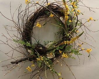 Spring Bird Nest and Wild Flower Wreath