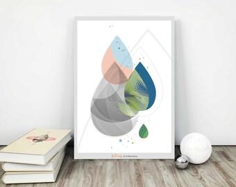 Elemental : Rain Modern, Geometric, Abstract, Art Print