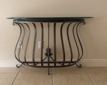 French Foyer Entry Table With Glass Top Wrought Iron