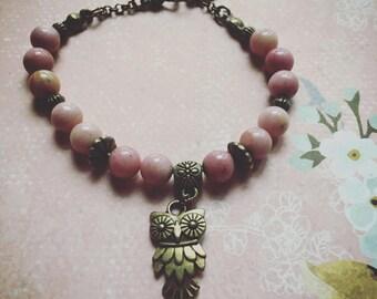 Rhodochrosite with OWL beaded bracelet