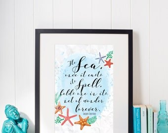 The Sea, when it casts its Spell, holds one in its nests of wonder forever. Jacques Cousteau Quote Watercolour Sea Starfish Wall Art Print