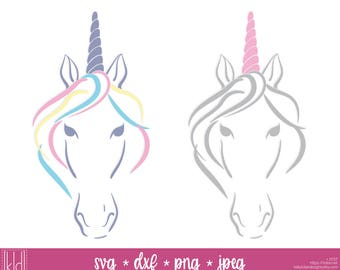 2 Unicorn svg files - Unicorn Head svg - Unicorn Face svg - Unicorn svg - Unicorn Cut File - Unicorn Birthday svg