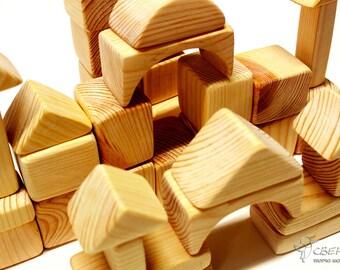 Wooden Building Blocks set (56 pcs), Pine Wood, Natural Wood, Wooden Castle, Building Block, Wooden Figures