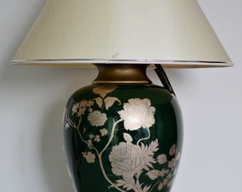 Maison Le Dauphin Ceramic Table Lamp or Desk lamp, Silver Green, Signed France Regency, 1970, Home Design, Interior decorating, french style
