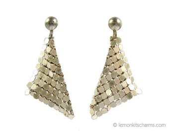 Vintage Glomesh Mesh Style Earrings, Jewelry 1970s, Silvertone Disco, Chainmail, Clip On, Triangle
