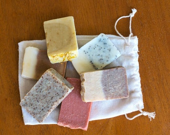 Soap sampler bag // Pure botanical soap // Gift bag // Natural soap // Handmade soap // Travel soap //  Vegan soap // Herbal soap //