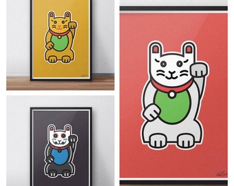 Waving Cat , Maneki-neko Illustration / Prints