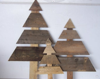 set of 3 large wooden christmas trees reclaimed wood holiday decor stake sign for grass - Wood Christmas Tree