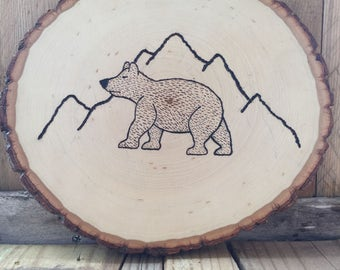 Hand Wood Burned Bear Sign