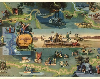 The Adventures of Huckleberry Finn from the Book by Mark Twain Print, Pictorial Map, 1959, Edward Everett Henry, Museum Quality Poster Print