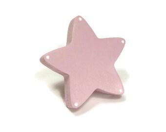 soft pink star button kid's room, Dresser knob, drawer painted wood