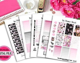 Audrey 1 // Pink  // Big Happy Planner // Printable Planner Stickers
