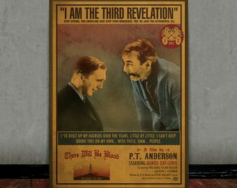 There will be blood, Daniel Plainview, Colored retro classic movie poster