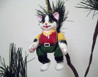 Ornaments / Black and White Cats in Clothes / vintage