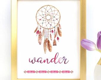 Wander typography art print poster printable