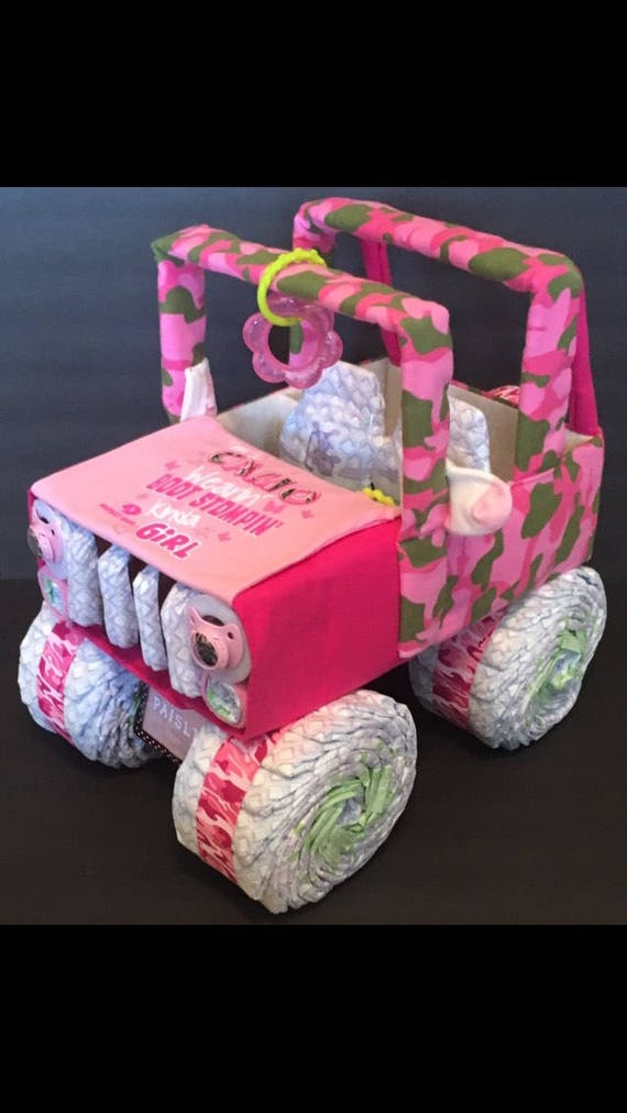 Baby shower centerpiece jeep diaper cake pink camo