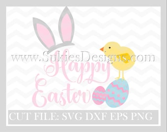 Happy Easter SVG, DXF, PNG Files for Cricut and Silhouette cutting Easter svg, Easter svg files, Easter bunny svg, Holiday svg, Bunny svg