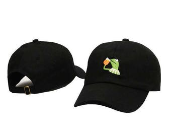 Black embroidered kermit the frog none of my business dad hat