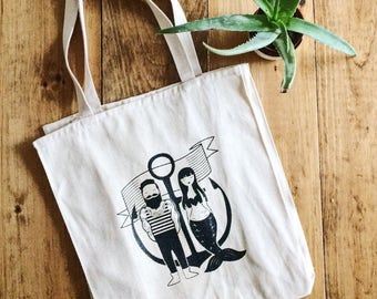 Nautical Sailor & Mermaid Natural Canvas Grocery Tote