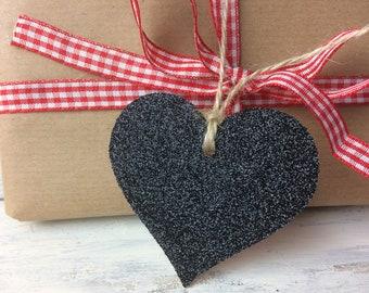 BLACK HEARTS, black glitter hang tags, Handmade hang tags, heart shape, Christmas wrapping, place names